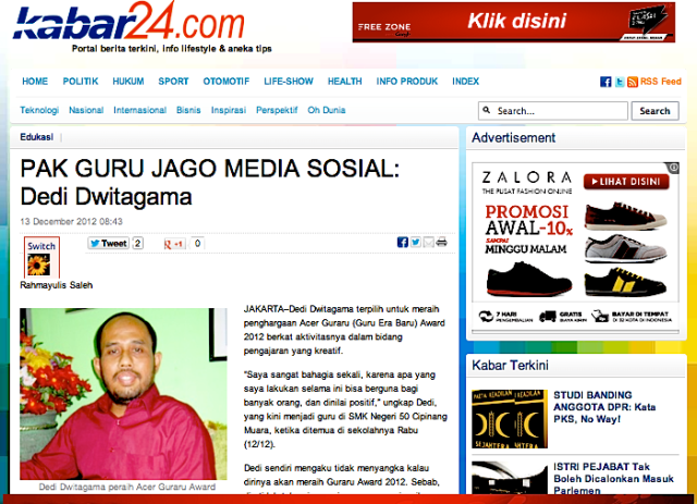 Dedi Dwitagama peraih Acer Guraru Award 2012/Kabar24/Rahmayulis Saleh