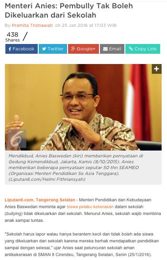 Link: http://news.liputan6.com/read/2420411/menteri-anies-pembully-tak-boleh-dikeluarkan-dari-sekolah